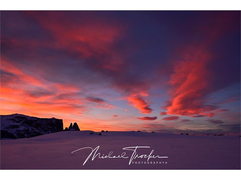Sunset Boulevard auf der Seiser Alm in Herzen der Dolomiten