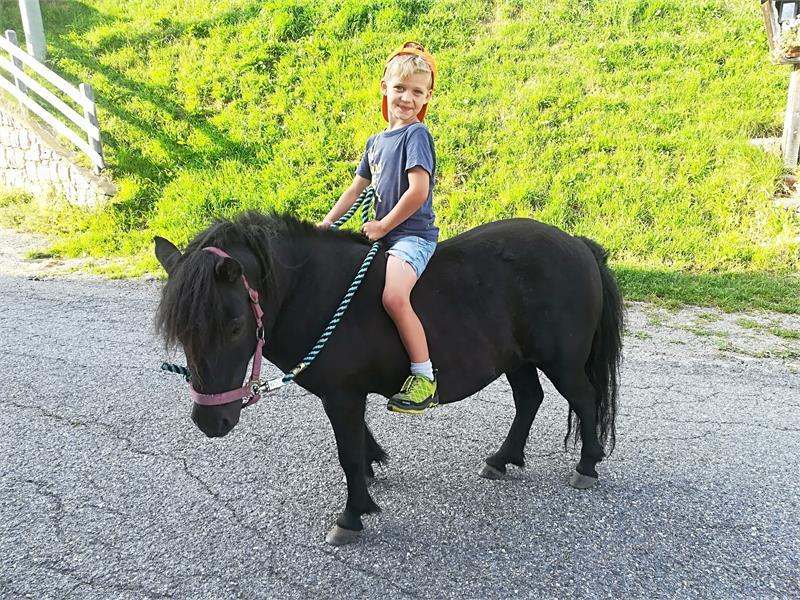 Reitspaß mit dem Pony am Kuenhof in Vöran