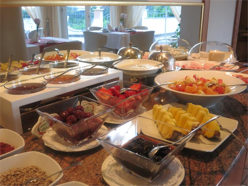 Delicious breakfast buffet with homemade products