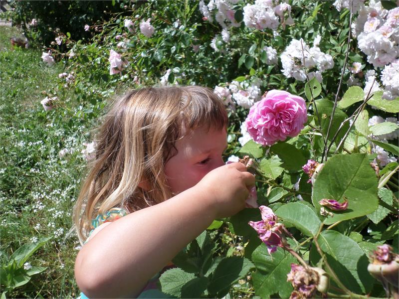 Bambino con fiori