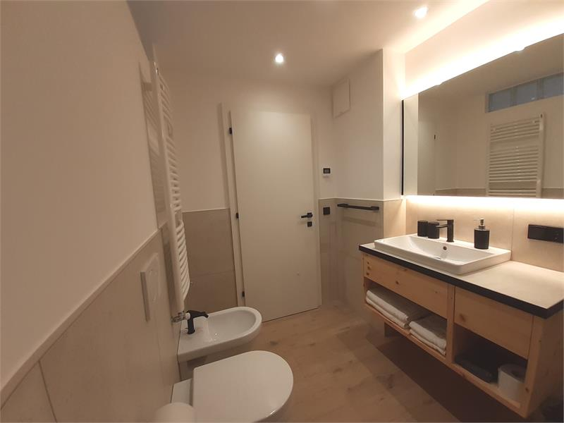 Bathroom apartment 1, completely renovated, bathroom furniture in pine wood