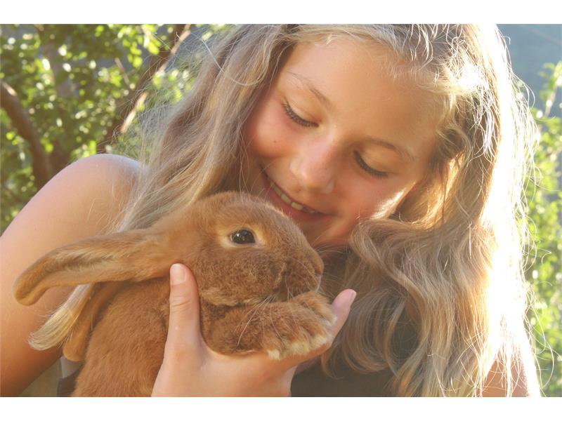 Eva with the rabbit Berni