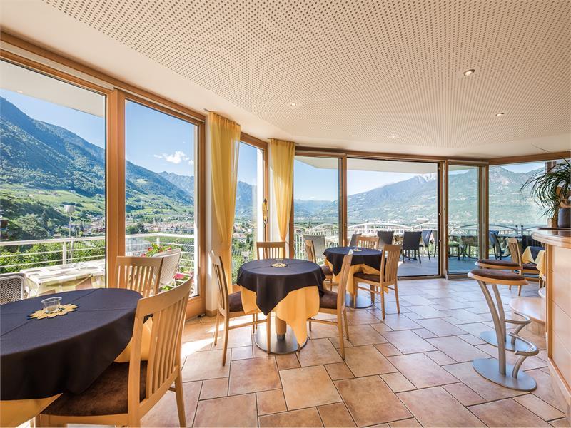 Hotelbar mit Panoramaterrasse im Panorama Garni Hotel Bühlerhof in Lana - Südtirol