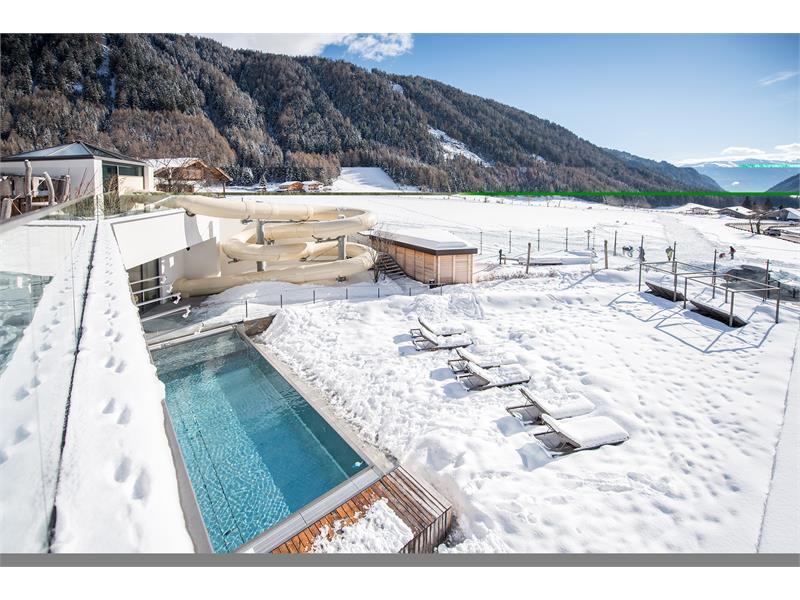 infinity outdoor pool and waterslide