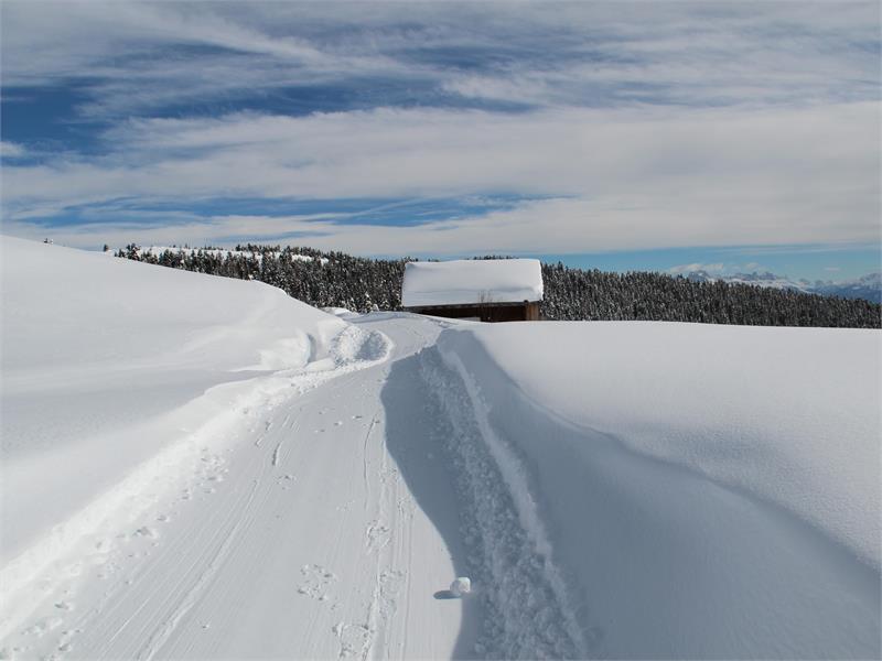 La malga Vöraner Alm in inverno