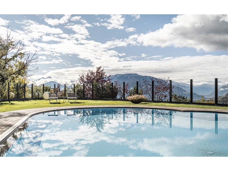 Outdoor pool with garden