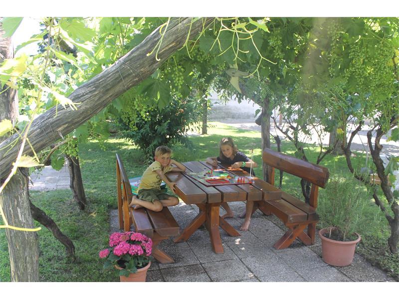 Gartentisch unter der Weinlaube