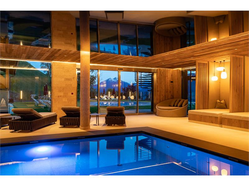 Indoor swimming pool with a view