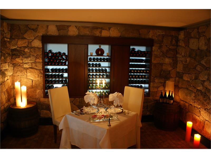 romantic dinner in the wine cellar