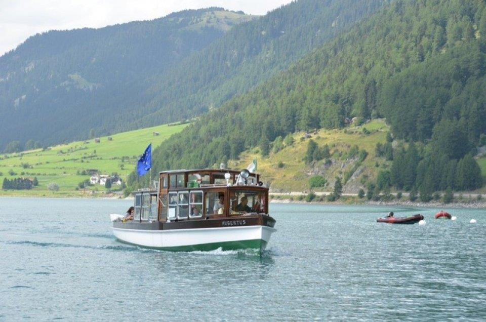 ship on the lake Reschensee