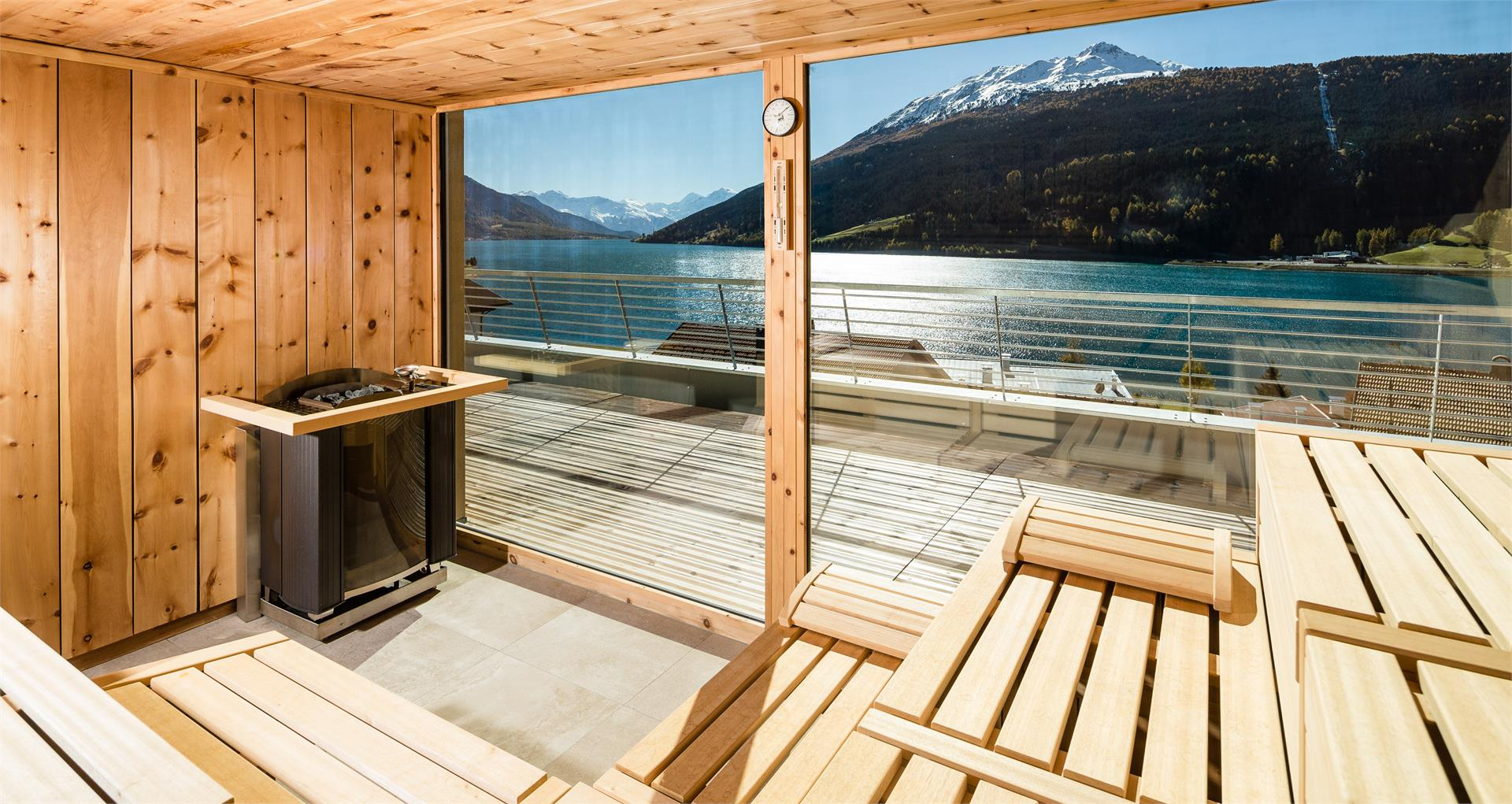 Bio Zirm Panorama Sauna with view on the lake resia and the king Ortler