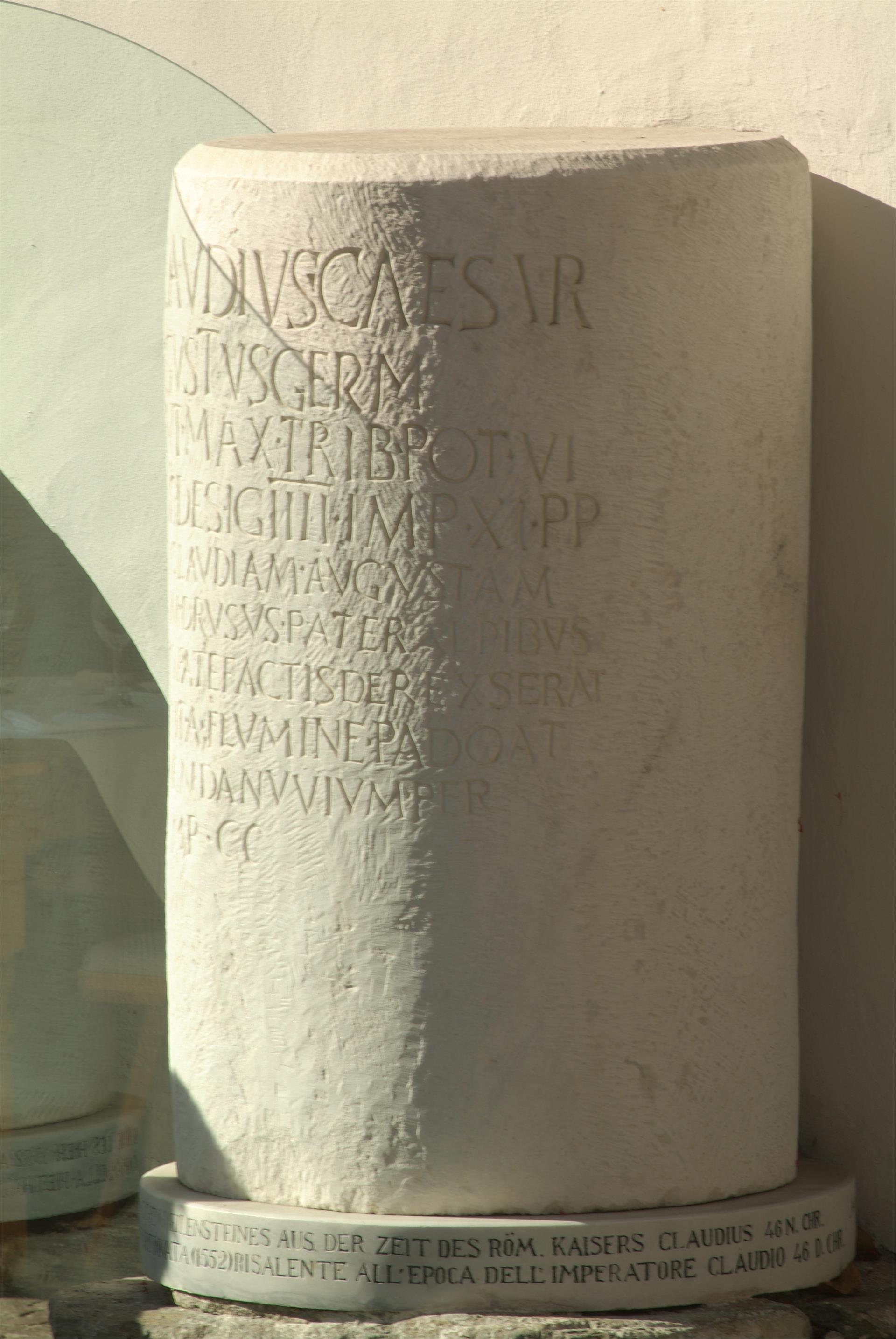 Roman milestone of the Via Claudia Augusta