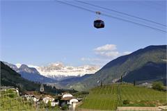 Rittner Seilbahn Bozen - Oberbozen mit Blick auf die Dolomiten