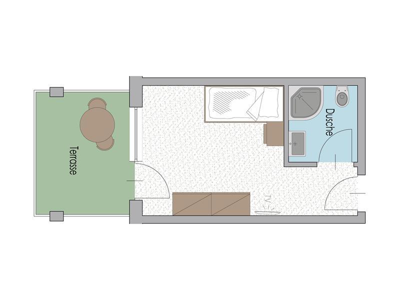 Einzelzimmer Typ G mit Terrasse