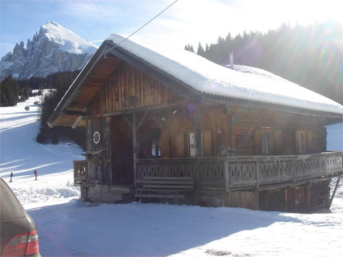 Mountain hut in winter