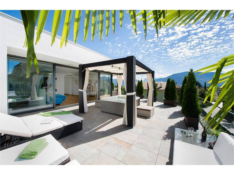 Großszügige Terrasse, eine Panorama Lounge, beheizter Whirlpool im Freien. Sonnige Liegewiese