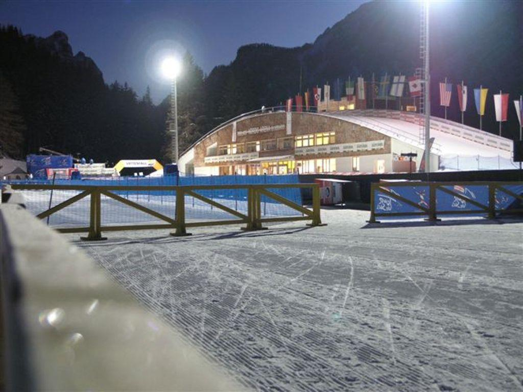 Cross Country ski runs at the stadium illuminated