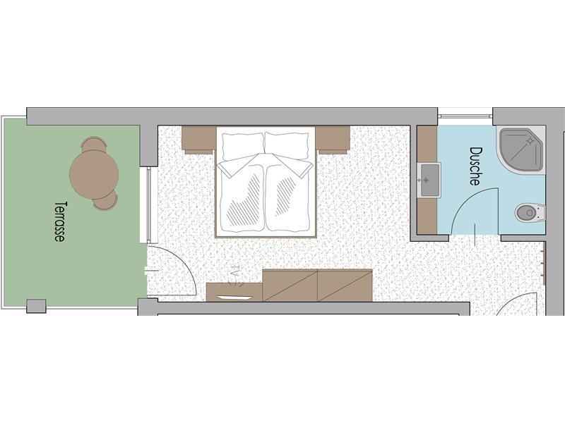 Zimmer im 3. Stock Typ D mit Terrasse