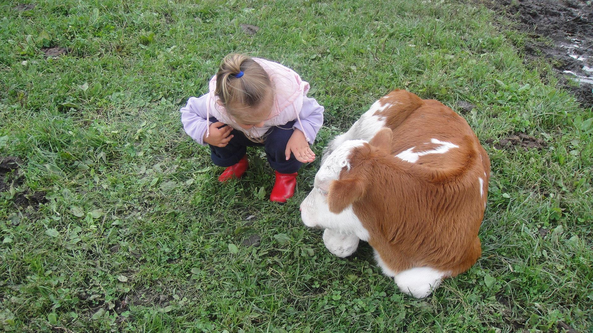 Lena with cow