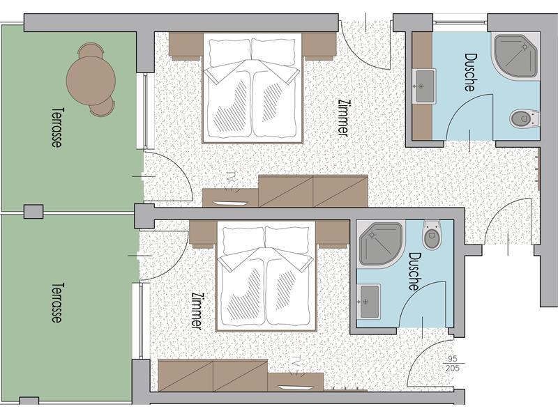 Familienzimmer Typ F im 3. Stock mit Terrasse