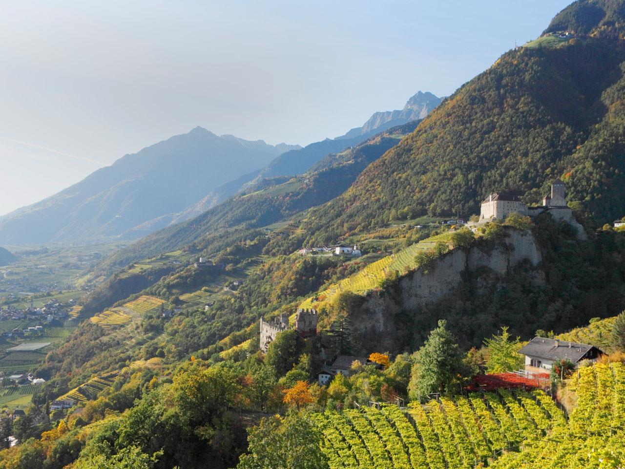 Blick auf Schloss Tirol, Brunnenburg und St. Peter