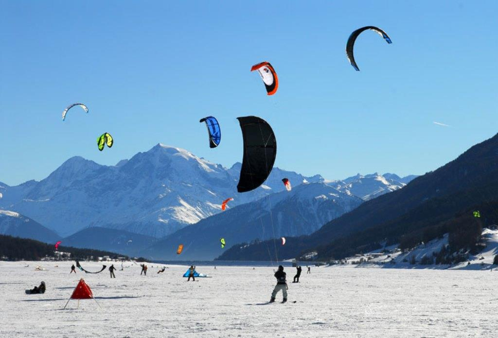 Snow Kiting on Lago di Resia/Reschensee and Haidersee Lakes
