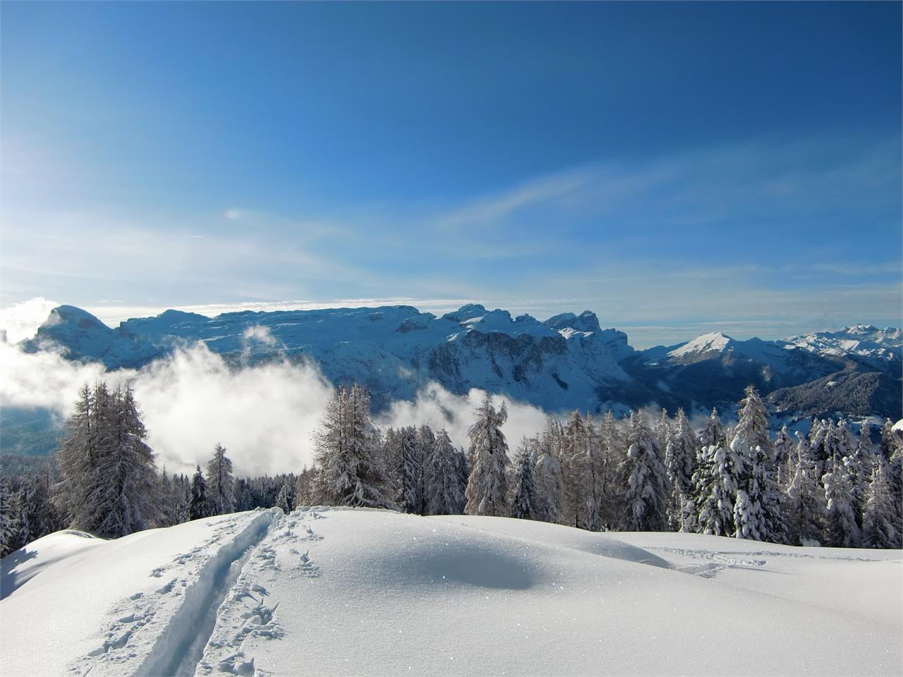 Schneeschuhwanderung am Fuße des Sas dla Crusc/Heilig Kreuz