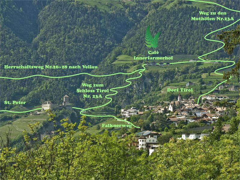 Wanderwege um den Innerfarmerhof, Schloss Tirol und Dorf Tirol