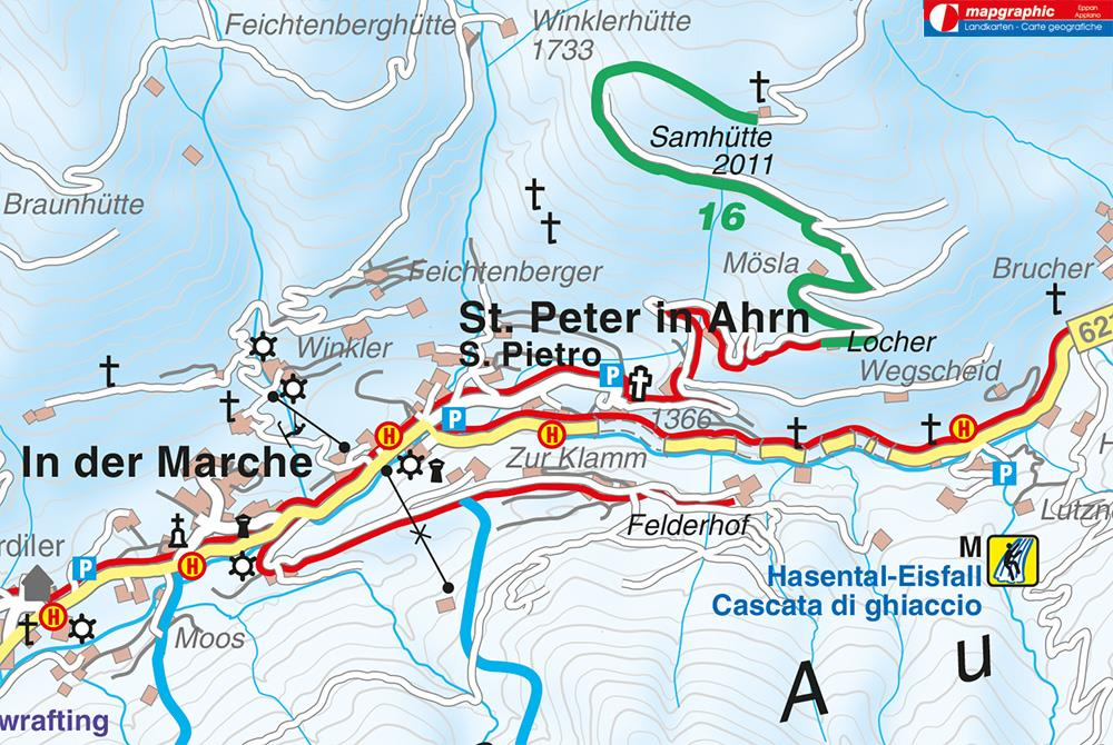 Winter hiking trail to the Locherhof