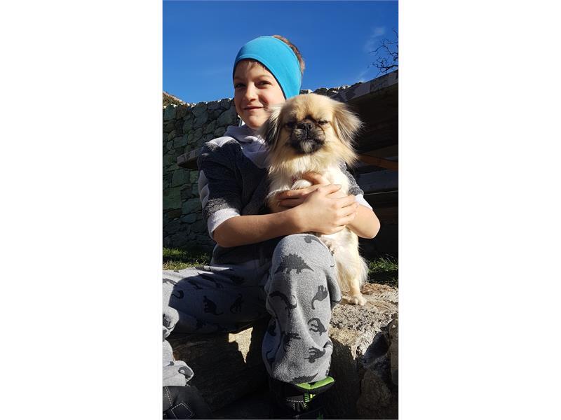 Ben with our farm dog Mia