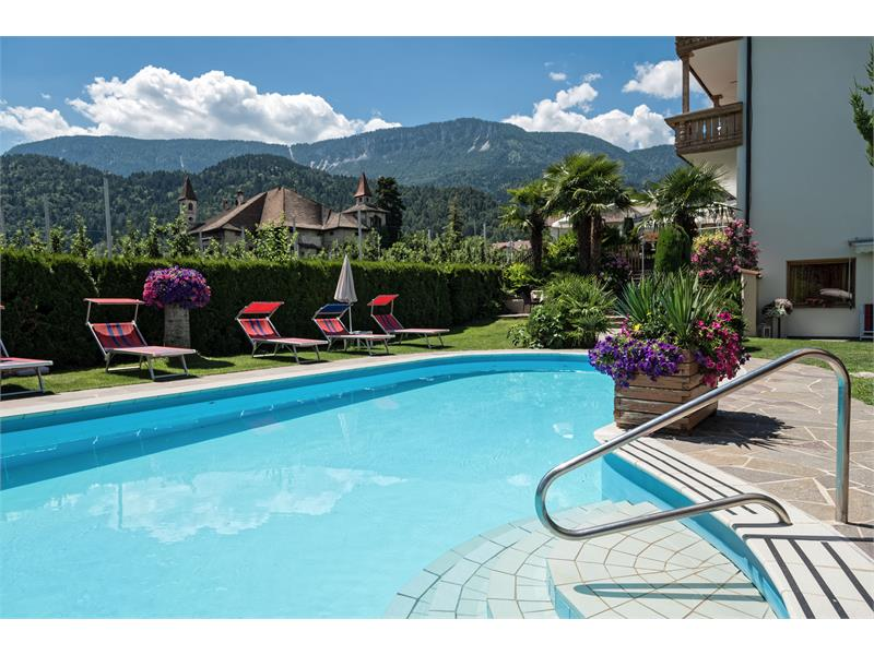 swimming pool surrounded by fruit orchards