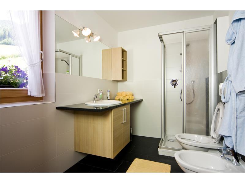 Si può guardare avanti per spazioso bagno con doccia, bidet e WC