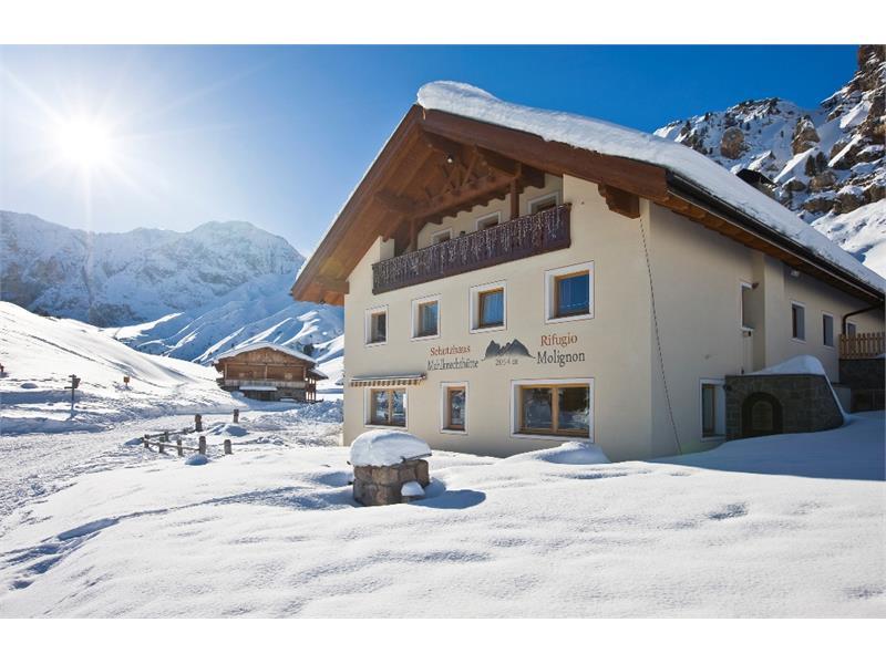 Mountain hut Molignon in winter