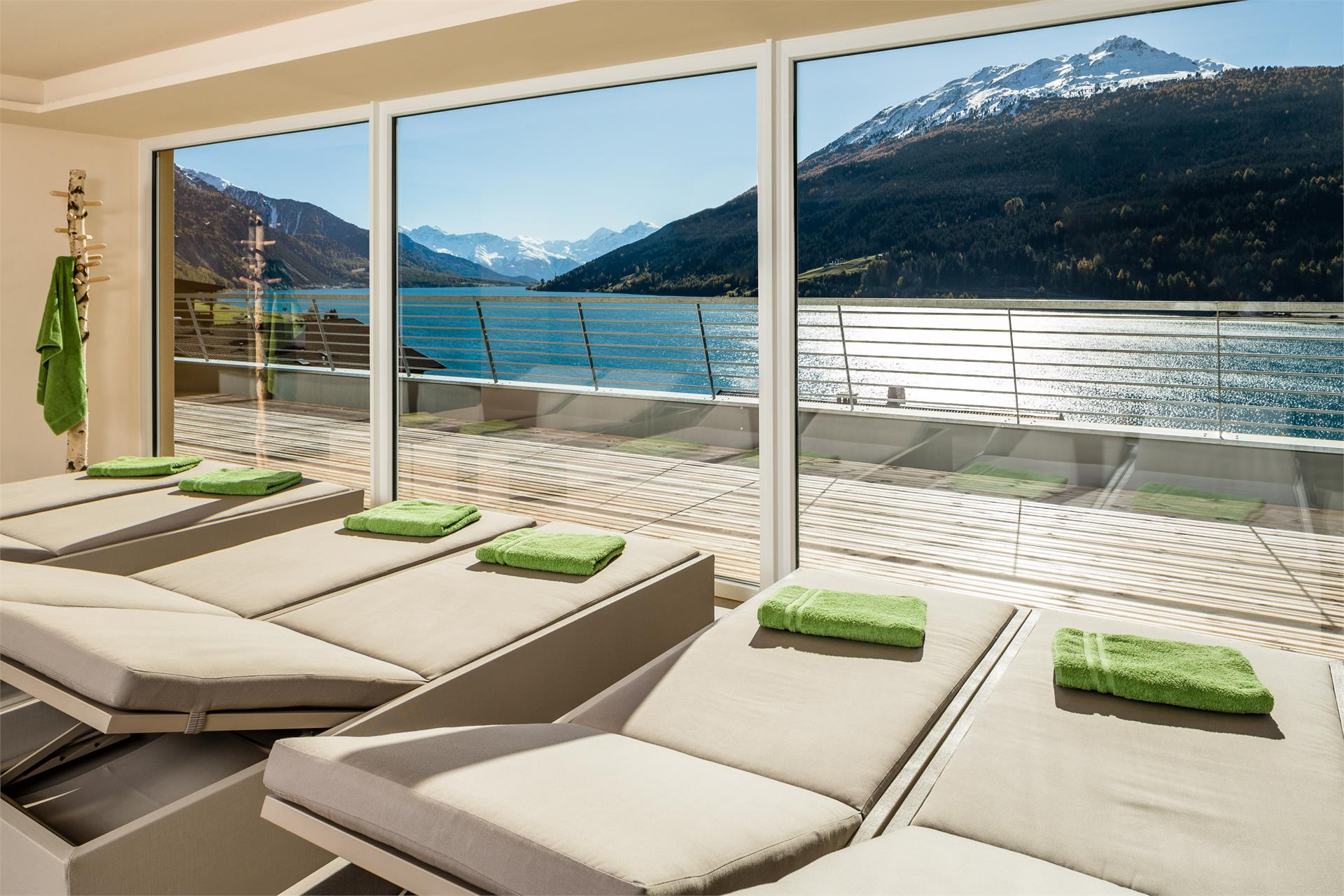 Relax room with view on the lake resia and the king Ortler
