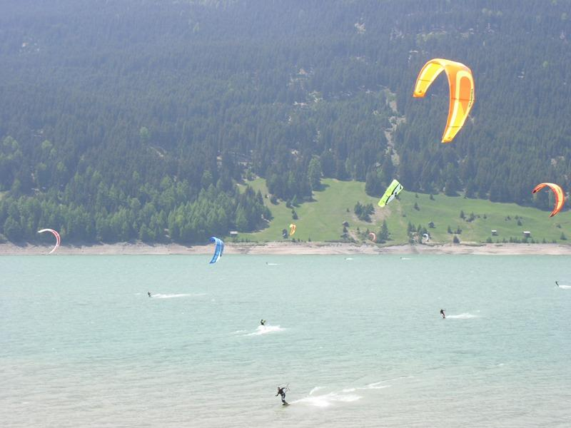kitesurfing on the lake Reschensee