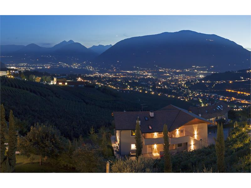 Evening garden with view of the city Merano