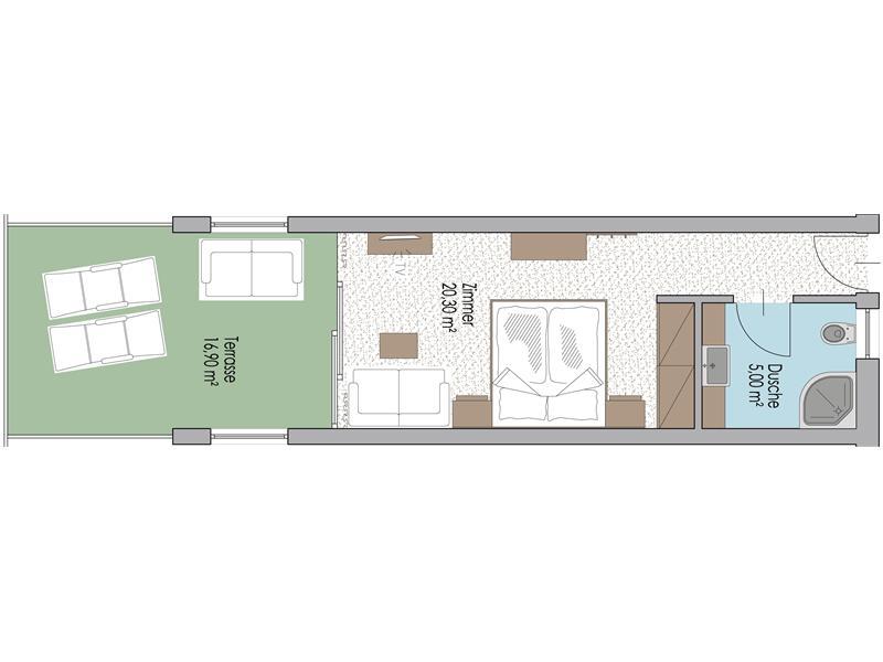 Zimmer im 4. Stock Typ E mit Terrasse