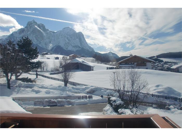 Aparthotel Viktoria Castelrotto Alpe di Siusi panoramic south view in winter