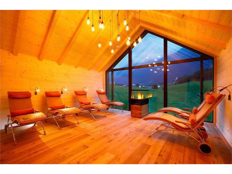 zona relax nella sauna esterna