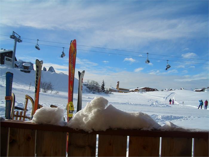 Chalet Seiser Alm - Ausblick auf die Panorama Skipiste