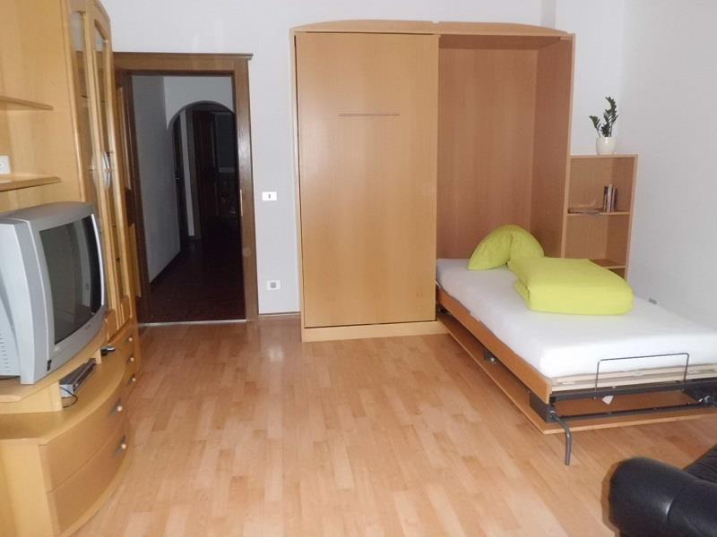 Wohnzimmer mit Schlafgelegenheit im Appartement Alpenrose